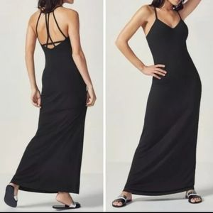NWT Fabletics black Evelyn Maxi Dress sz Med /6-8